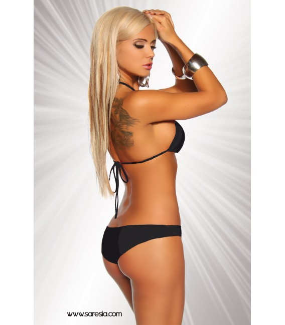 Gogo-Bikini von Saresia aus elastischem Material schwarz