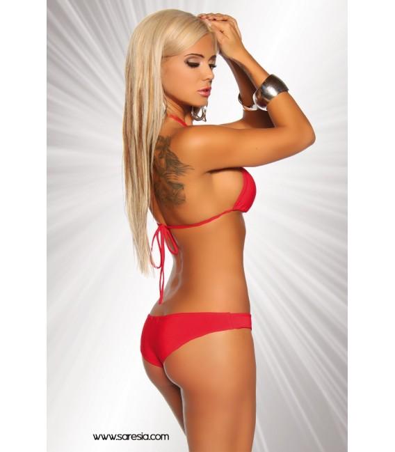 Gogo-Bikini von Saresia aus elastischem Material rot