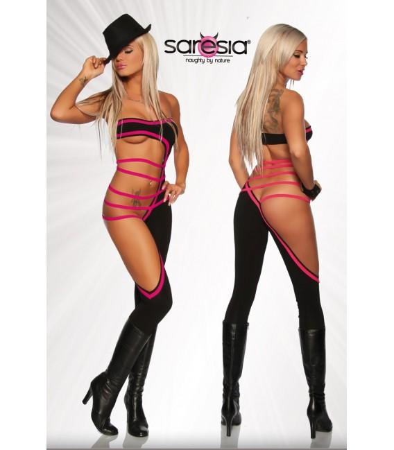 Gogo-Overall von Saresia mit raffiniertem Schnitt und seitlichen Cutouts schwarz/pink