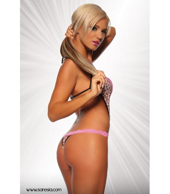 Neckholder-Body ouvert von Saresia im coolen Leo-Print mit rosa Spitze