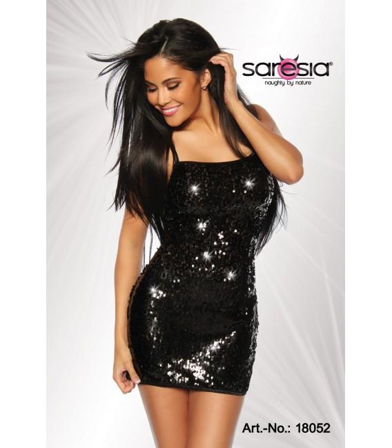 Pailletten-Kleid leicht transparent von Saresia schwarz