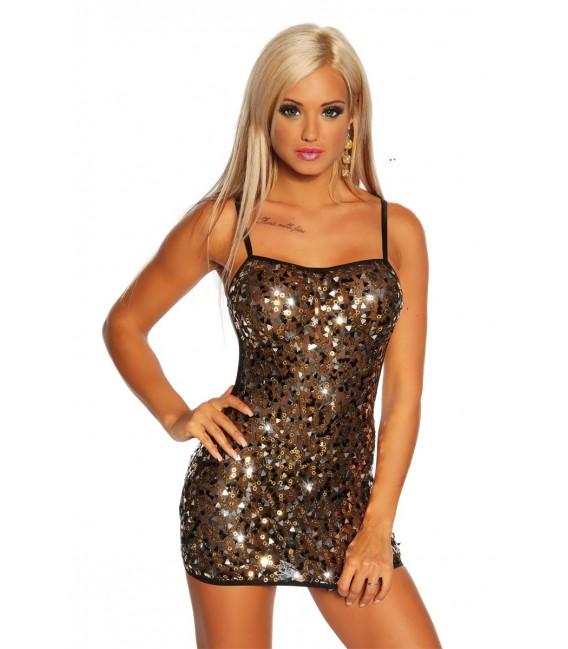 Pailletten-Kleid leicht transparent von Saresia schwarz/gold