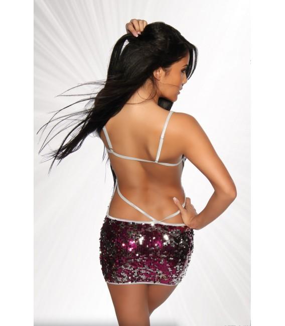 Pailletten-Kleid leicht transparent von Saresia pink/silber