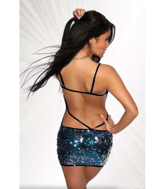 Pailletten-Kleid leicht transparent von Saresia blau/silber