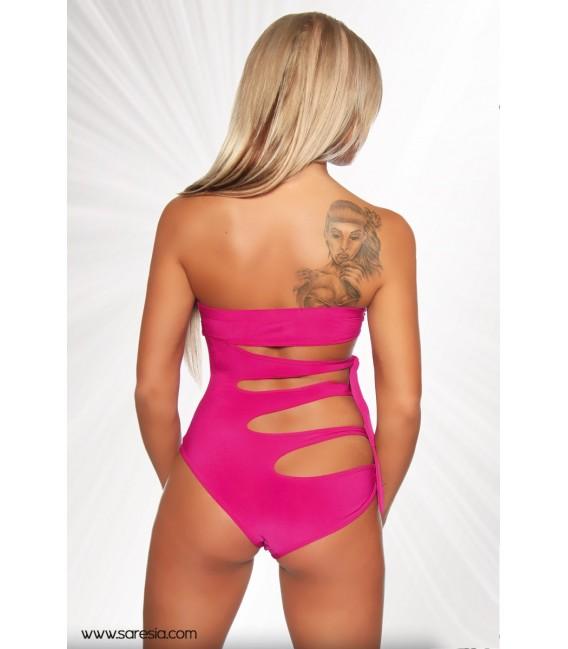 Bandeau-Monokini von Saresia mit Cutouts pink