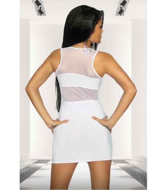 Minikleid von Saresia aus elastischem Material mit transparente Einsätzen weiß