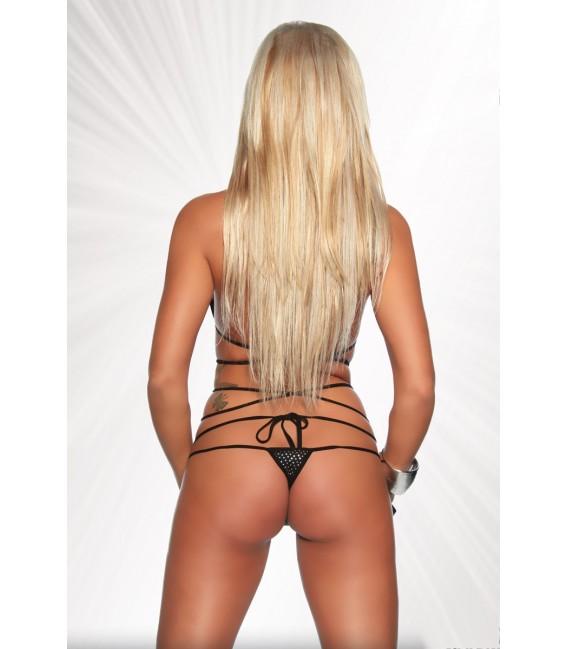 Gogo-Wickel-Bikini von Saresia, aus metallisch glänzendem Stoff schwarz/silber