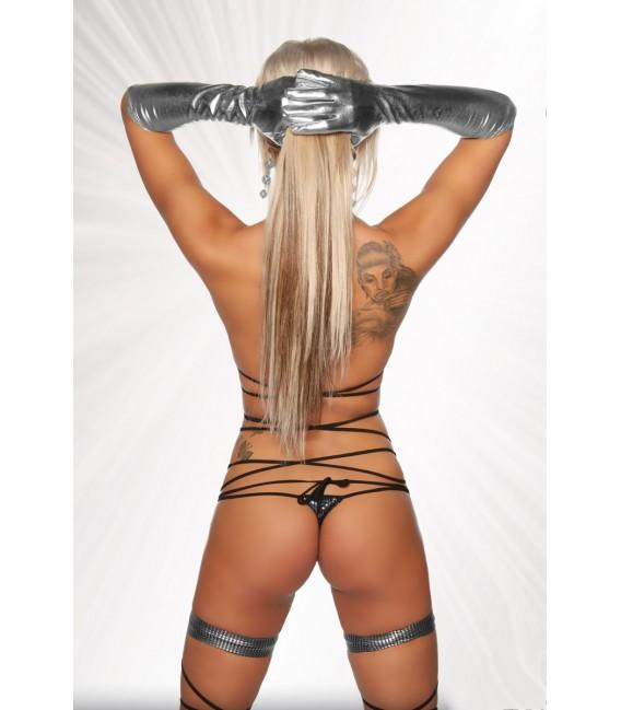 Gogo-Wickel-Bikini von Saresia, aus metallisch glänzendem Stoff silber/schwarz
