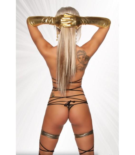 Gogo-Wickel-Bikini von Saresia, aus metallisch glänzendem Stoff gold/schwarz