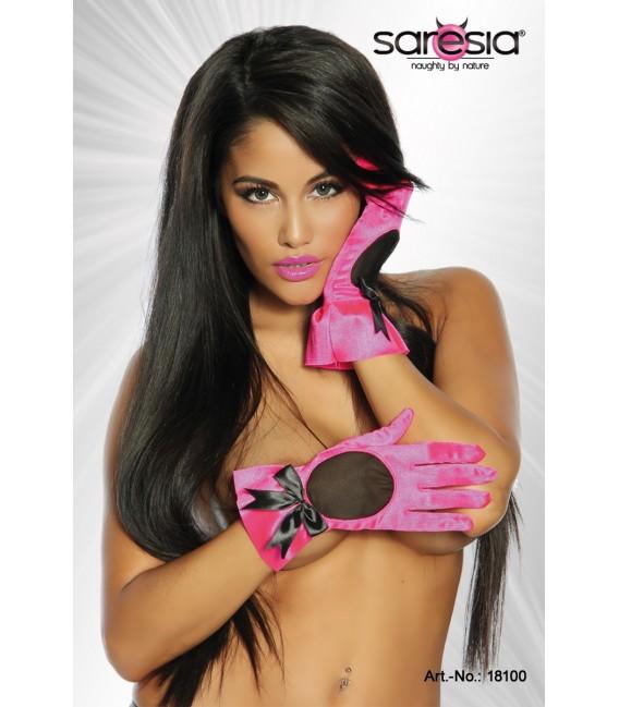 Satin-Handschuhe von Saresia, leicht glänzend pink/schwarz