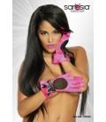 Satin-Handschuhe pink/schwarz - AT18100