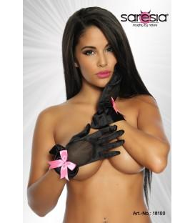 Satin-Handschuhe schwarz/rosa - AT18100