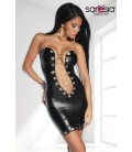 Wetlook-Kleid mit Kette - AT18161