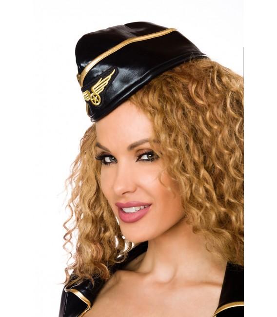Stewardess-Kostüm von Saresia roleplay, besteht aus Mütze, Top, Rock und Stockings.