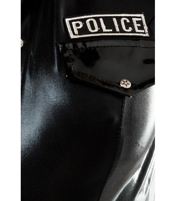 Polizei-Kostüm von Saresia roleplay, besteht aus Oberteil, Hose, Mütze, Handschuhe, Stockings und Funkset.