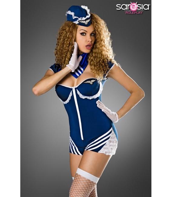 Retro Stewardess-Kostüm von Saresia roleplay, besteht aus Body, Mütze, Halstuch, Handschuhe und Stockings.