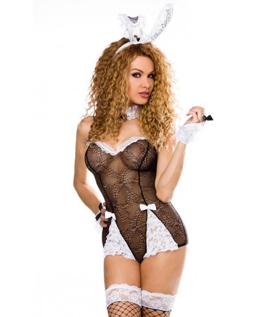sexy Bunny-Kostüm von Saresia roleplay, besteht aus Body, Stockings, Handmanchetten, Haarreif mit Ohren und Halsband.