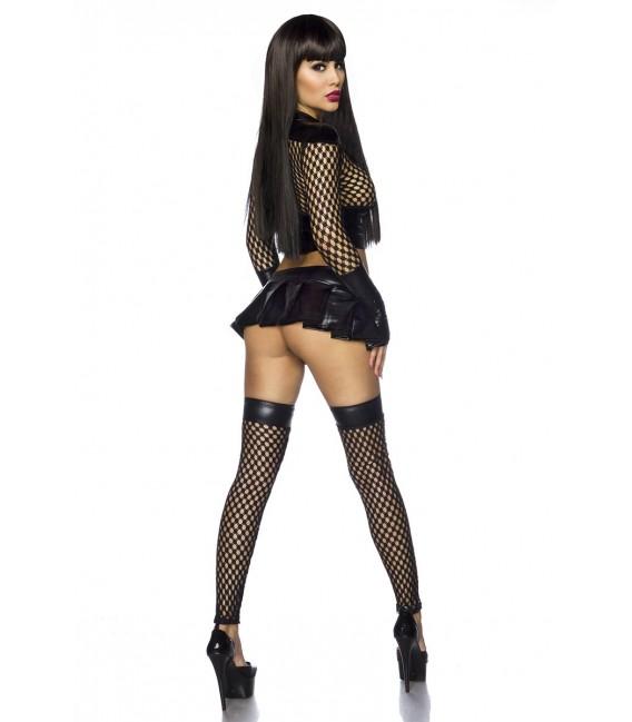 Netzoutfit von Saresia in Wetlook-Optik, das heiße Set besteht aus Jäckchen, Minirock und Stockings