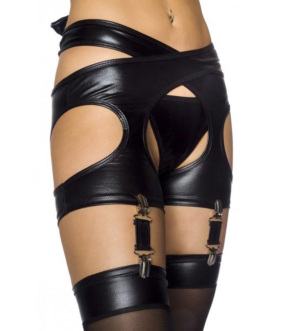 Wetlook-Set von Saresia, bestehend aus Top, Strapsgürtel, Slip, Stockings und Strapsband