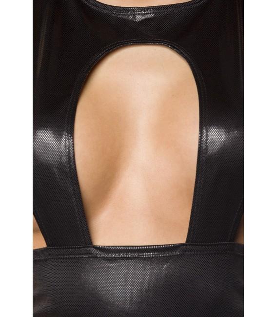 Minikleid im Hosenträgerlook mit raffiniertem Ausschnitt von Saresia schwarz