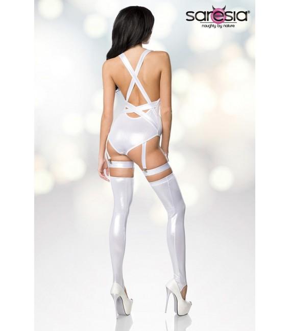 Body-Set mit tiefem Ausschnitt im Metallic Look von Saresia silber