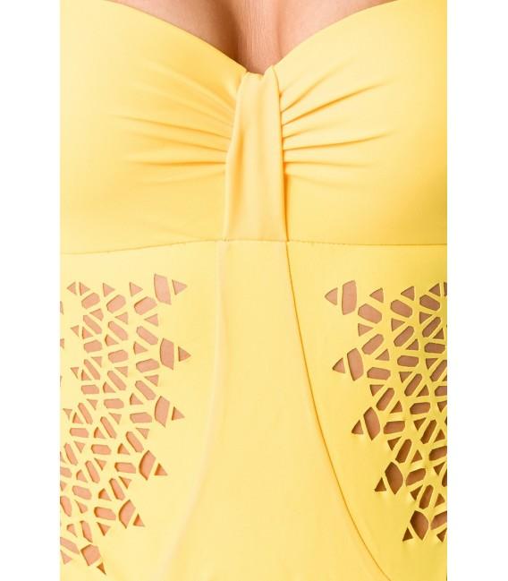 Swimsuit gelb mit vorgeformten Push-Up-Softcups