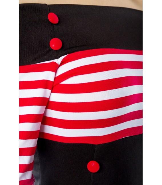 chulterfreies Vintage-Kleid von Belsira mit kurzen Ärmeln