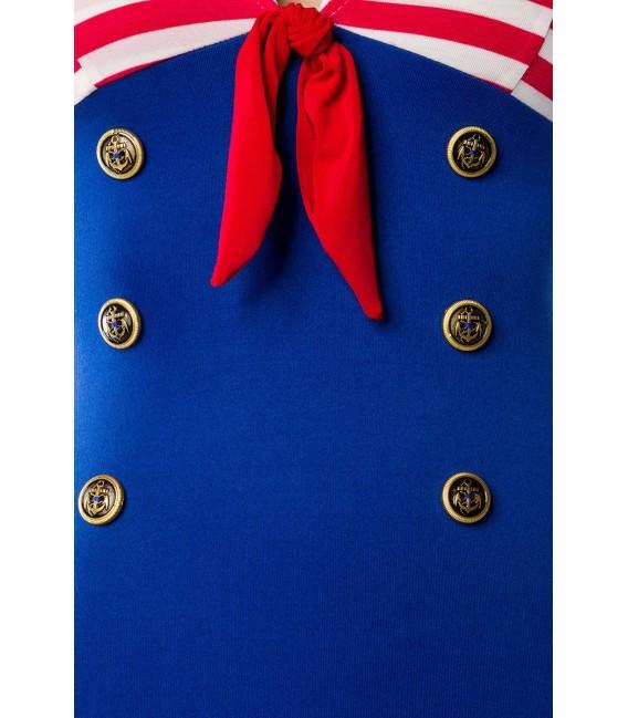 Marinekleid von Belsira hat eine Kellerfalte mit Kontrasteinsatz und Schleifchen hinten
