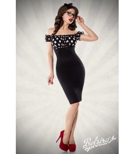 Vintage Pencil-Kleid von Belsira schulterfrei mit angeschnittenen Ärmeln schwarz/weiß