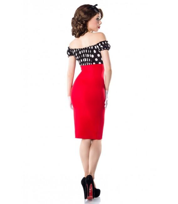 Vintage Pencil-Kleid von Belsira schulterfrei mit angeschnittenen Ärmeln rot/schwarz/weiß