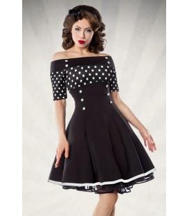schulterfreies Vintage-Kleid - Retrokleid von Belsira mit kurzem Arm und ausgestelltem Rockteil schwarz/weiß/dots