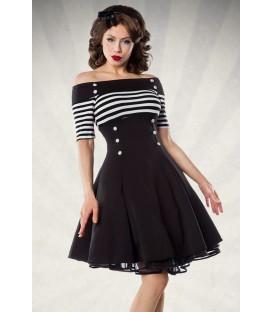 schulterfreies Vintage-Kleid - Retrokleid von Belsira mit kurzem Arm und ausgestelltem Rockteil schwarz/weiß/stripe