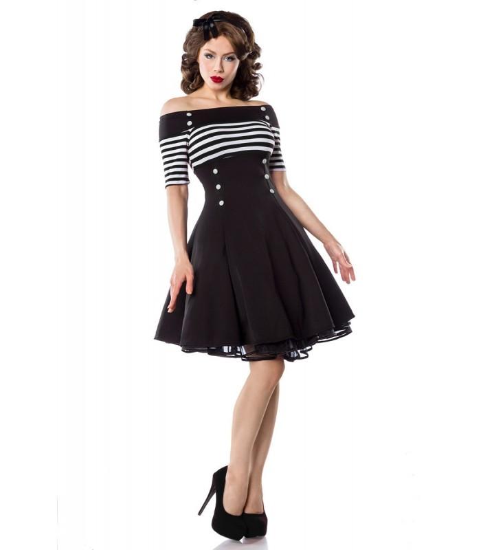 vintage kleid schwarz wei stripe at50006 fashionmoon. Black Bedroom Furniture Sets. Home Design Ideas
