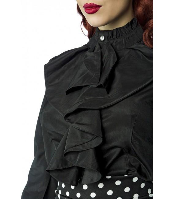 Rüschen Bluse von Belsira im trendigen Retro Look, der Rüschenkragen ist mit Jabot schwarz