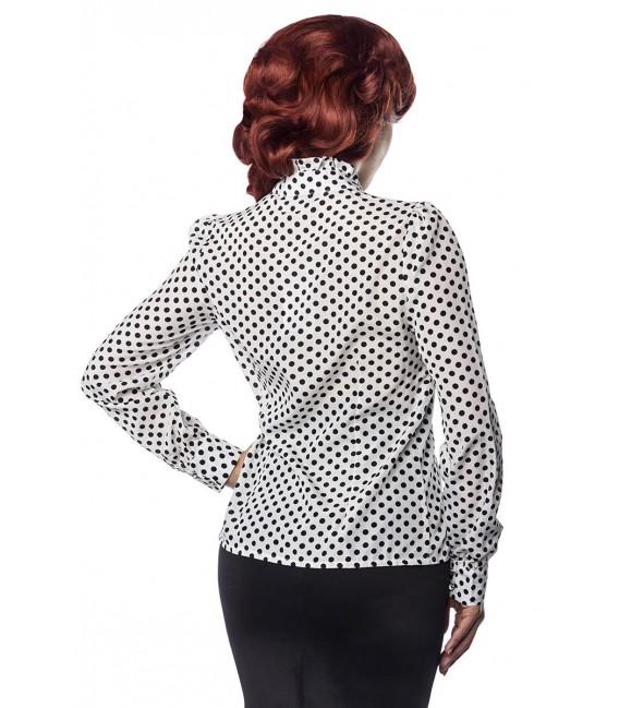 Rüschen Bluse von Belsira im trendigen Retro Look, der Rüschenkragen ist mit Jabot weiß/schwarz