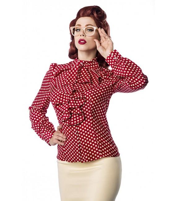 Rüschen Bluse von Belsira im trendigen Retro Look, der Rüschenkragen ist mit Jabot rot/beige
