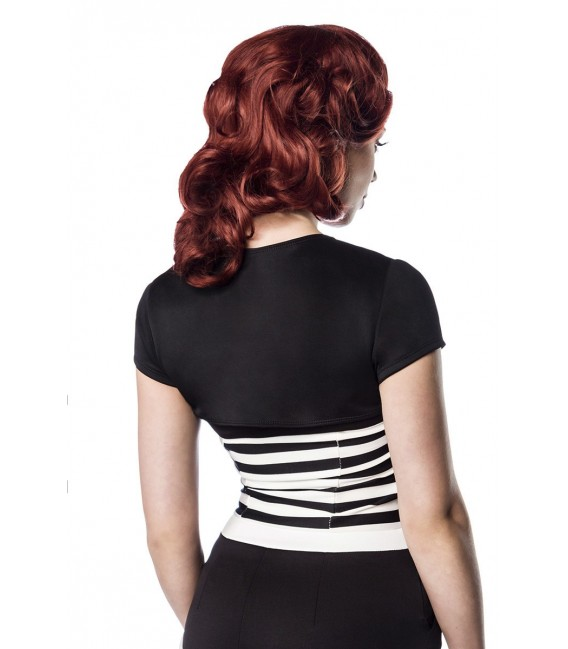 Kurzarm Bolero von Belsira im trendigen Retro Look schwarz