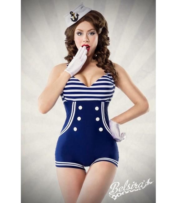Vintage-Badeanzug mit Knöpfen von Belsira im Marine-Look blau/weiß