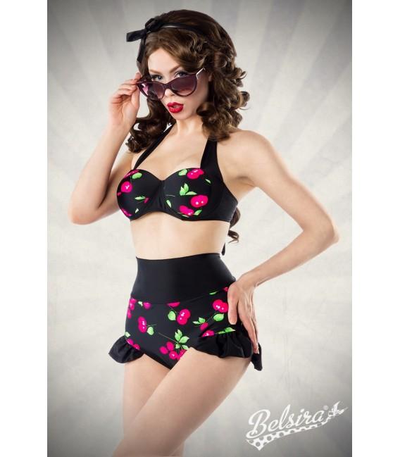Vintage-Bikini mit Kirschmuster von Belsira mit High-Waist-Höschen Großbild
