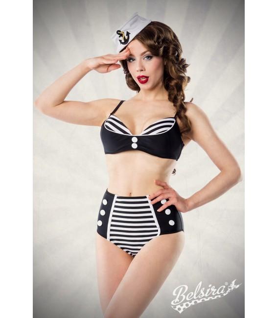Vintage-Bikini mit High-Waist-Höschen von Belsira schwarz/weiß