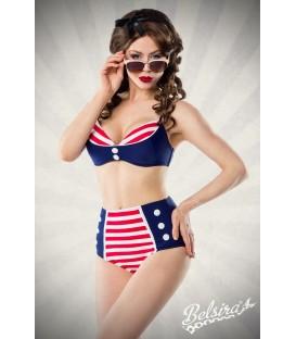 Vintage-Bikini blau/rot/weiß - AT50017