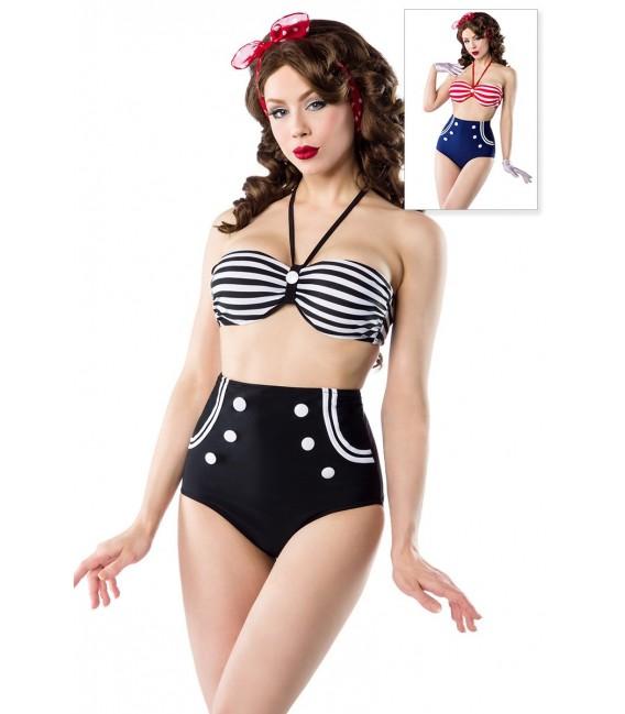 Vintage-Bikini im Marine-Look von Belsira mit gepaddetem Oberteil und High-Waist-Höschen schwarz/weiß