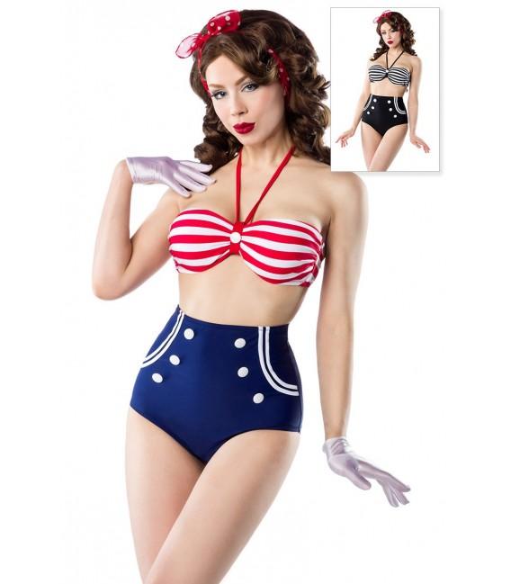 Vintage-Bikini im Marine-Look von Belsira mit gepaddetem Oberteil und High-Waist-Höschen blau/rot/weiß