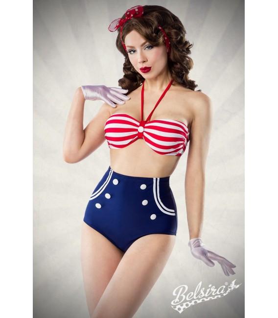 Vintage-Bikini blau/rot/weiß - AT50018