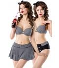 3-teiliges Vintage-Bikini-Set mit Rock - AT50019