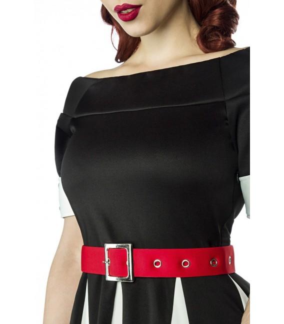Schulterfreies Godet-Kleid von Belsira mit Teilungsnaht auf Taillienhöhe