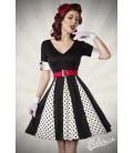 Godet-Kleid weiß/schwarz/rot - AT50022