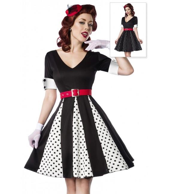 Godet-Kleid mit V-Ausschnitt von Belsira mit Jersey-Gürtel weiß/schwarz/rot