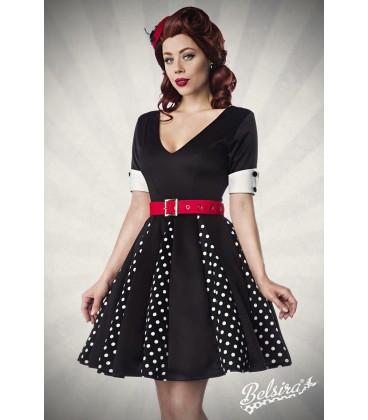 Godet-Kleid schwarz/weiß/rot - AT50022