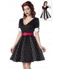 Godet-Kleid mit V-Ausschnitt von Belsira mit Jersey-Gürtel schwarz/weiß/rot